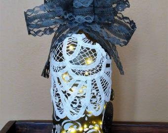 Steampunk mixed media art wine bottle lamp