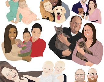 Family portrait, Couples portrait, Custom portrait, Personalized portrait, Illustration, Pet portrait, Anniversary gift, Digital portrait