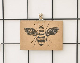 Bee Card/Bumble Bee prints/Printed Bee Cards/Lino Print Cards/Block Prints Card/ A6-C6/ Bumble Bee Print