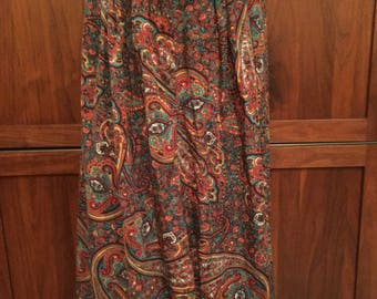 Laurissa Paisley School Teacher Librarian Button Front 90s Pocket Skirt