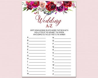 Floral Bridal Alphabet Game, Wedding A To Z, Boho Wedding Alphabet Game, Bridal Shower Game, Red flowers Wedding ABC Game Printable pdf B10