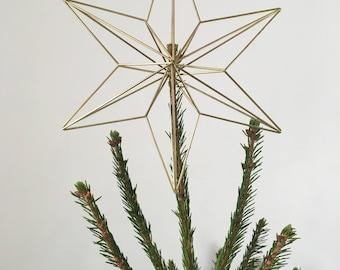 Brass Himmeli Star Decoration • Christmas Tree Topper • Geometric Christmas Decoration • Hanging Star Decoration