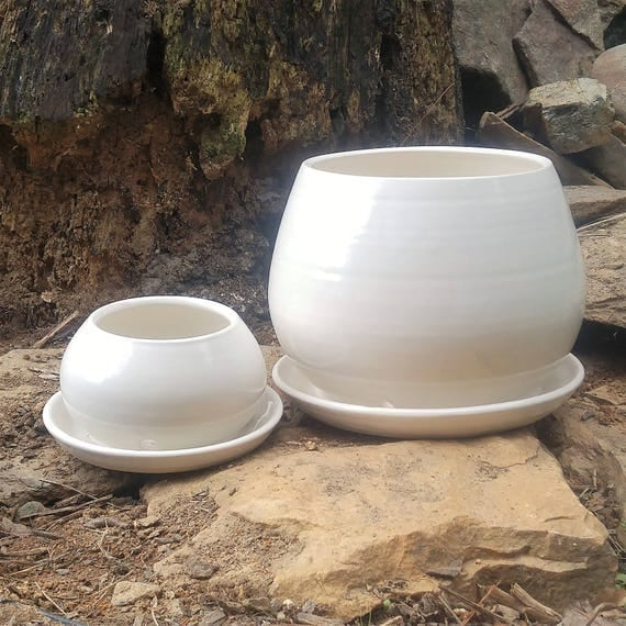 Round White Planter with Attached Saucer in Large or Small Ready to Ship