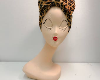 Turban with bow, leopard pattern, stretchy, headwrap, made to order