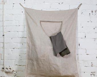 Large home bag, storage basket, hanging linen bag, home linen bag, linen laundry bag, linen laundry, natural linen, large linen bag /LH0009