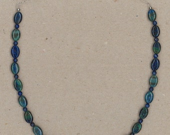 Chrysocolla, Lapis, and Sterling Silver Necklace Handmade by Chris Hay