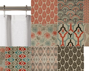 Fabric Shower Curtain 72 X 72, 84, 96 Custom Extra Long Extra Wide Natural Blue Gray Coral Premier Prints Laken Byram