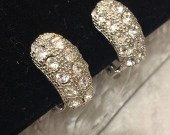 Silvertone and Rhinestone Clip On Earrings