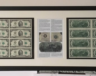 Authentic framed american currency