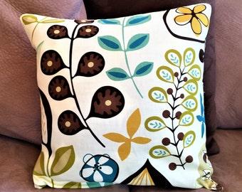 Decorative throw pillow cover, Floral pillow cover, multi-color pillow, accent pillow, handmade pillow, home decor,  16 x 16 pillow cover