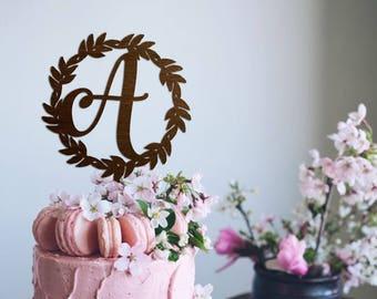 Monogram Cake Topper Wedding Wreath Cake Topper Rustic Cake Topper Letter  Cake Topper Gold Cake Topper Wedding Anniversary Wedding Monogram