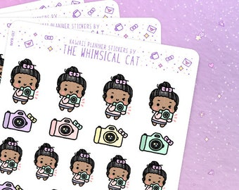Kawaii Photographer Stickers, Camera Planner Stickers, Camera Stickers, Photography Stickers, Selfie Stickers, Taking Pictures Stickers