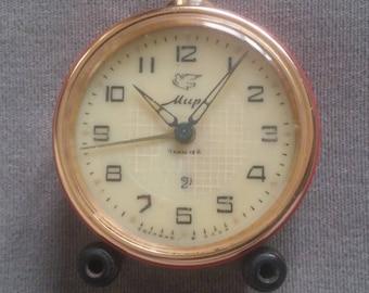 Old Soviet Mechanical Alarm Clock Mir, Russian vintage clock, USSR made, Vintage Decor, Soviet Made Clock, 1960's