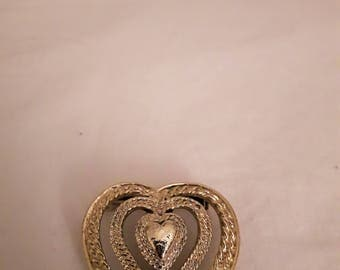 VINTAGE GERRY'S Heart Brooch and Pendant (Two in one) - Gold Tone - 1970s