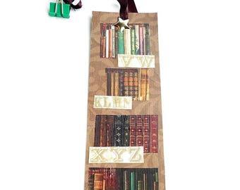 Bookmark ~ Collage ~ Art ~ Bookshelves ~ With Book Clip ~ Original ~ Handmade ~ Not Digital