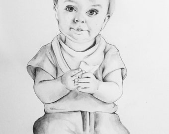 Child Customised Ink and Watercolour portrait