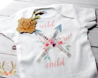 Boho Onesie®, Wild Child Onesie®, Floral Boho Baby Clothes, Arrow Onesie, Girl Baby Shower Gift, Cute Bodysuit, Bee & Bubba