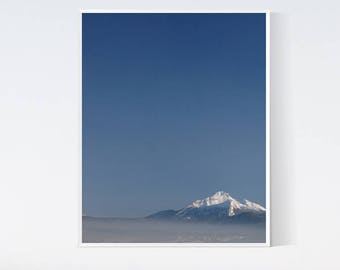 Mountain photography print Wall art prints Blue wall decor Nature photo Moody landscape PRINTABLE arts Cobalt blue minimalist 8x10 Winter