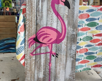 Flamingo Pallet Art, Ocean art, Reclaimed wood, Bird art, Bird Wall Hanging, Coastal Decor