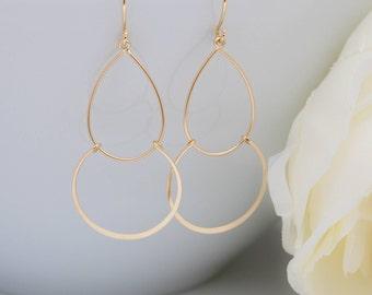 Delicate earrings yellow gold drop matt Teardrop Earrings