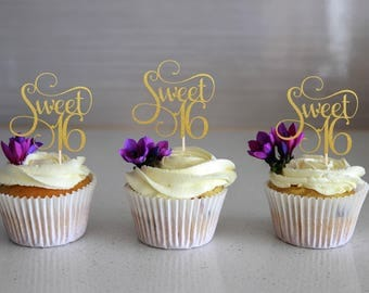 Sweet 16 Cupcake Topper, Glitter Topper, Cake Decoration, Glitter, Party Decoration, Gold, Birthday, 16th Birthday, Sixteen, Sixteenth