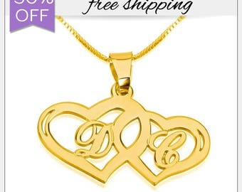 Couples Initial Hearts Necklace. Lovers couple's Necklace. Gold double heart necklace. Gold Heart Jewelry. Love Necklace. Best Gift For Her