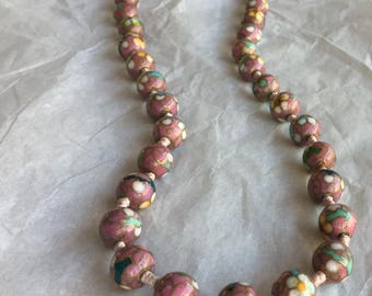 Cloisonne Pink Beaded Necklace