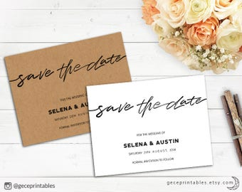 Rustic Wedding Save The Date Editable Template: Printable Save The Date, Wedding Template, Instant Download, Handwriting invite | Selena 050
