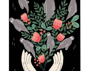Ghost Plant Illustration Wall Art Print