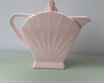 Pink coffee pot Art Deco shabby chic French vintage. Porcelain Saint Amand et Hamage 1930