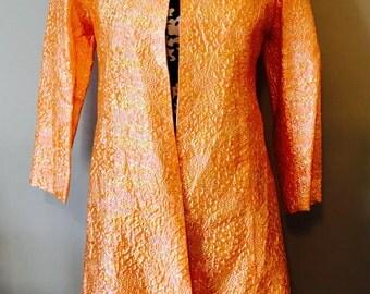 1990's Style Orange Iridescent Long Coat - Halloween - Costume