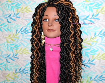 "READY TO SHIP  //Synthetic crochet wig "" Loc n Curl 20inch( large faux locs)"""