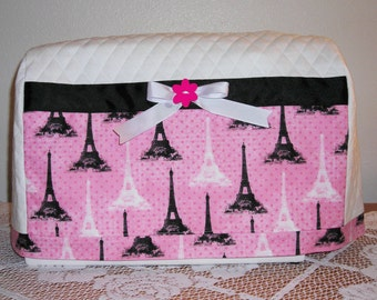 Quilted Sewing Machine Cover, Pink & Black Eiffel Tower Sewing Machine Cover, Handmade Sewing Machine Cover