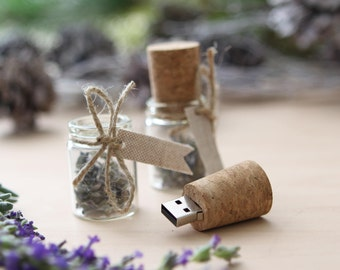 Glass USB Drive with Lavender/ Message in a Bottle USB / Cork USB