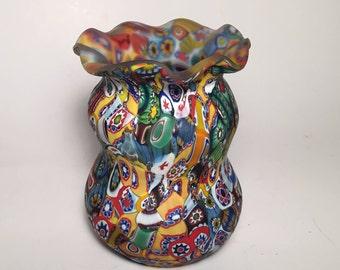 Murano Art Glass Millefiori Vase, Fratelli Toso