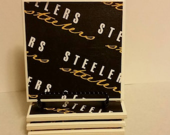Pittsburgh Steelers (black) set of 4 ceramic coasters