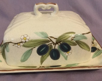 "Mikasa Country Classic ""Country Lane"" Butter Dish Plum Blossoms"