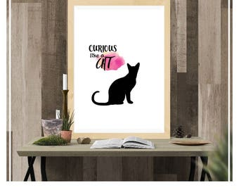Curious like a cat (Instant art download)