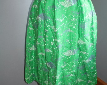 Hawaiian Design Bright Green A-line Knee length Skirt with Purple and White FLowers