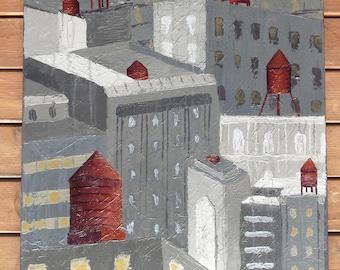 Original Acrylic City Painting - Water Towers - NYC Inspired - New York City - CalenJane