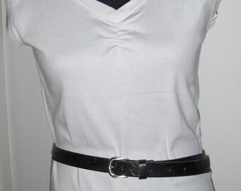Vintage Swedish black leather belt/Tooled embossed leather belt and silver tone metal buckle/95 cm genuine leather belt made in Sweden