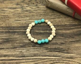 Wood Turquoise Bracelet | Wood Bracelet, Turquoise Bead Bracelet, Wood Beaded Bracelet, Gold Bead Bracelet | Boho Earthy Design For Less