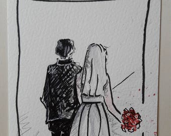 Hand drawn greeting card for wedding download