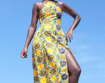 Zahra yellow summer boho style halter neck  dress