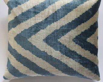 100% Silk Velvet Ikat cushion cover