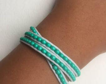Beaded Leather 3 Wrap Bracelet