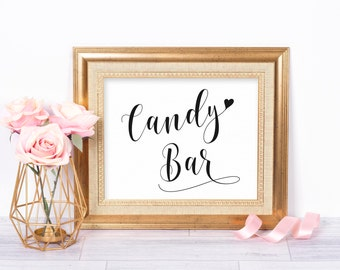 Candy Bar Sign, Candy Bar Printable, Candy Bar Wedding, Dessert Table Sign, Printable Wedding Sign, Wedding Candy Bar, Wedding Candy Table