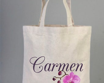Orchid, Orchid Wedding, Orchid Wedding Favor, Welcome Tote Bag,  Personalize Bag, Orchid Flower, Hawaii, Bridal Bag, Tote Bag, Cotton Bag