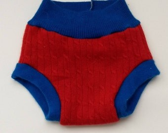 Upcycled Cashmere Patriotic Red and Blue Diaper Cover