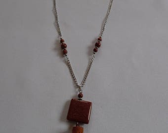 Pendant necklace, Sun stone / gemstone on stainless steel, Brown and silver chain.